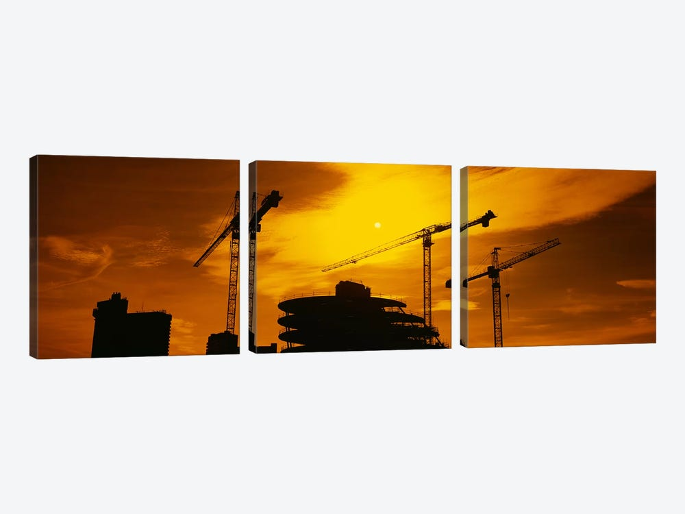 Cranes In An Orange Dusk, London, England, United Kingdom by Panoramic Images 3-piece Canvas Artwork