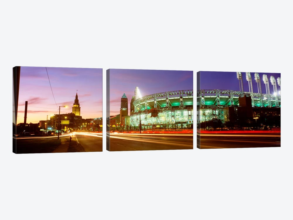 Low angle view of a baseball stadium, Jacobs Field, Cleveland, Ohio, USA by Panoramic Images 3-piece Canvas Wall Art