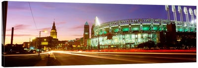 Low angle view of a baseball stadium, Jacobs Field, Cleveland, Ohio, USA Canvas Art Print