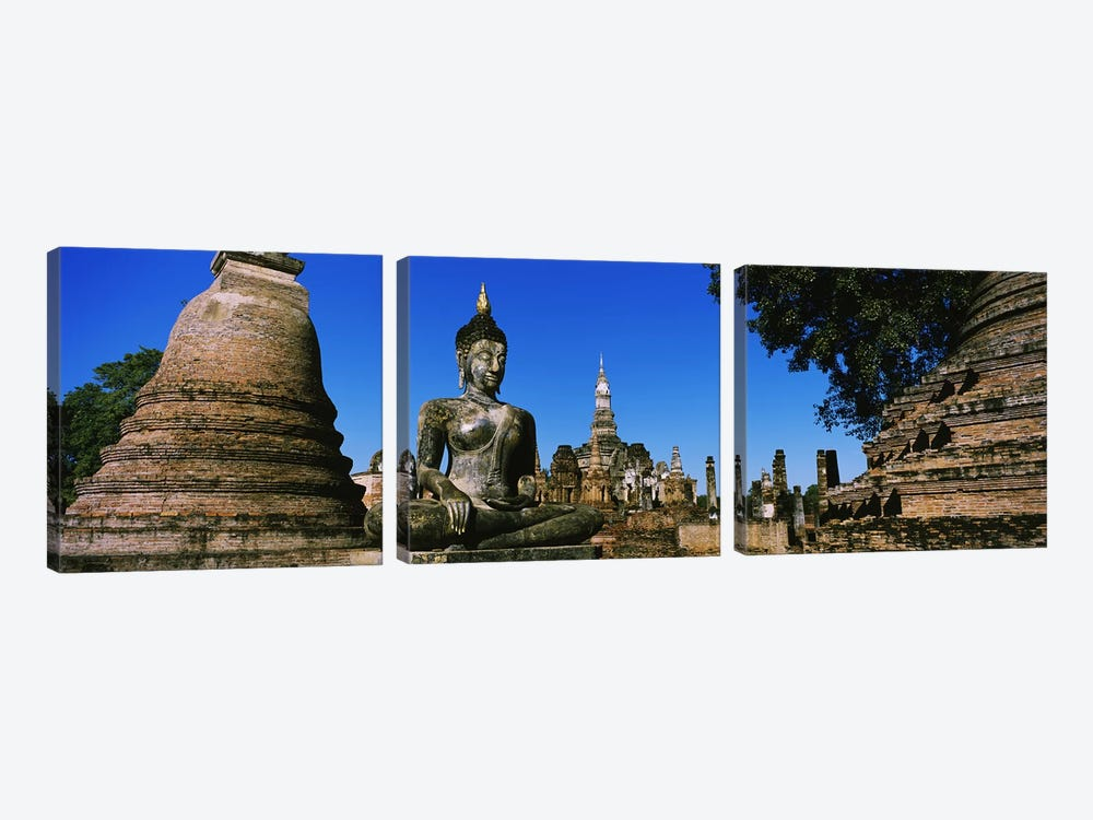 Statue Of Buddha In A Temple, Wat Mahathat, Sukhothai, Thailand 3-piece Canvas Art