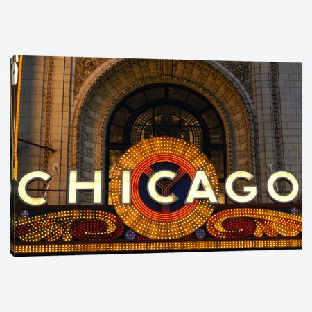 Marquee In Zoom, Chicago Theater, Chicago, Illinois, USA Canvas Print #PIM3437} by Panoramic Images Canvas Art