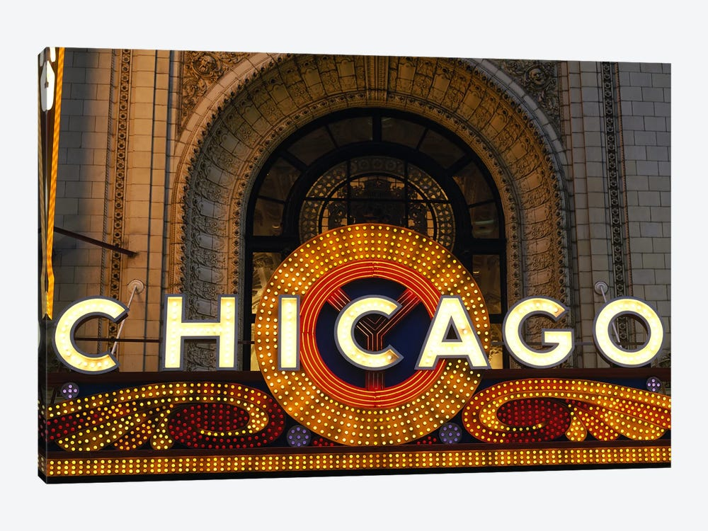 Marquee In Zoom, Chicago Theater, Chicago, Illinois, USA by Panoramic Images 1-piece Canvas Print