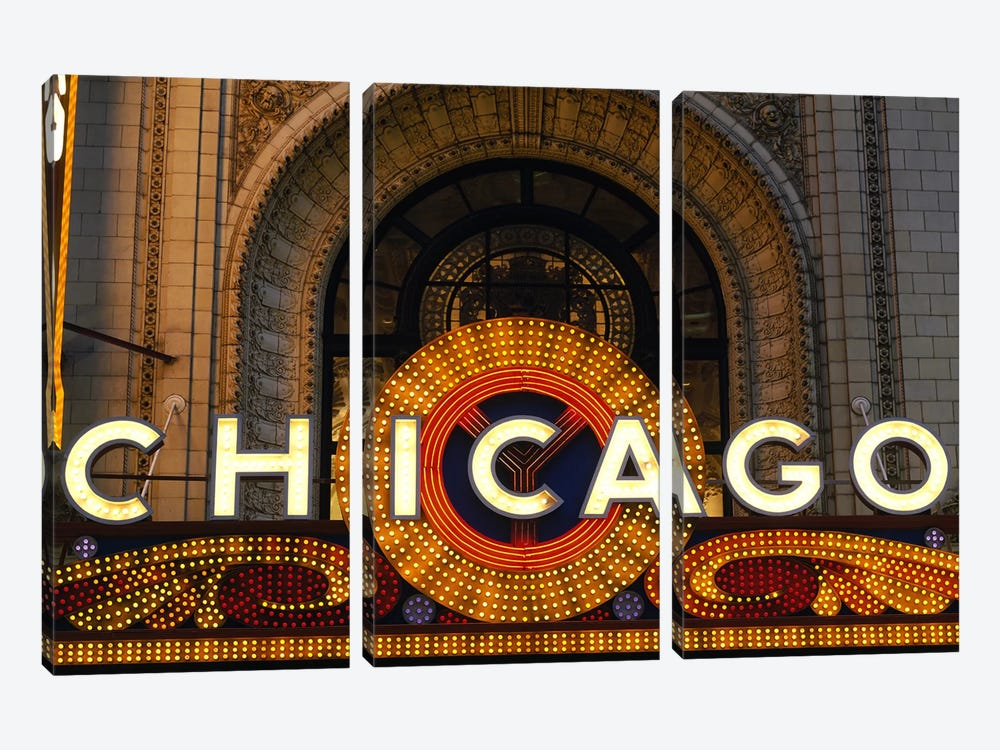 Marquee In Zoom, Chicago Theater, Chicago, Illinois, USA by Panoramic Images 3-piece Art Print