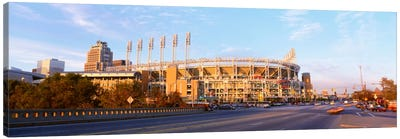 Facade of a baseball stadium, Jacobs Field, Cleveland, Ohio, USA Canvas Art Print
