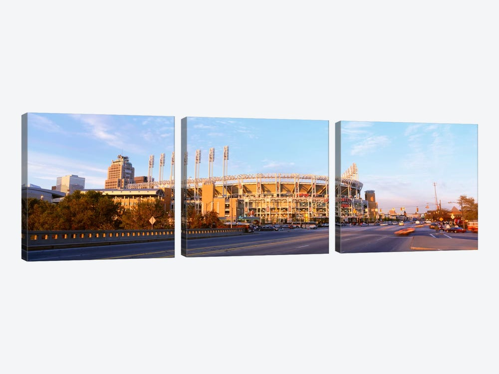 Facade of a baseball stadium, Jacobs Field, Cleveland, Ohio, USA by Panoramic Images 3-piece Art Print
