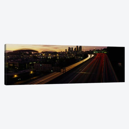 Aerial view at duskSeattle, Washington State, USA Canvas Print #PIM3442} by Panoramic Images Canvas Wall Art