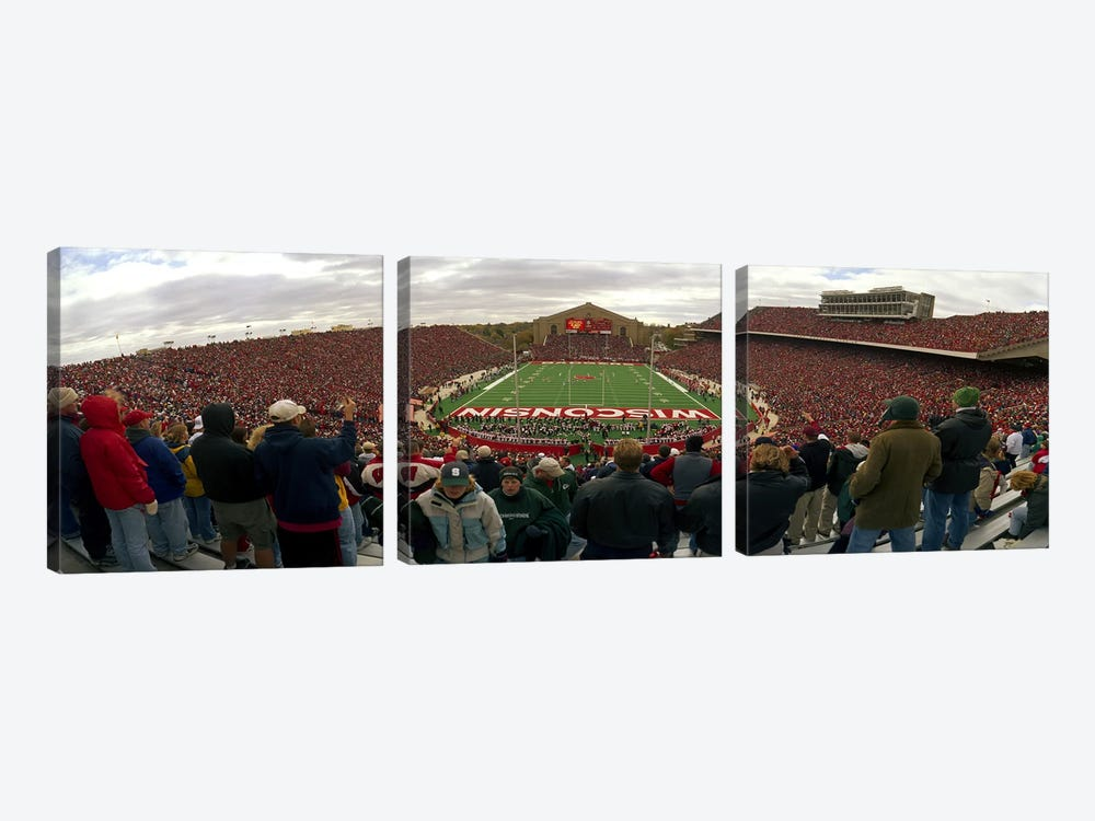 Spectators watching a football match at Camp Randall Stadium, University of Wisconsin, Madison, Dane County, Wisconsin, USA by Panoramic Images 3-piece Canvas Artwork