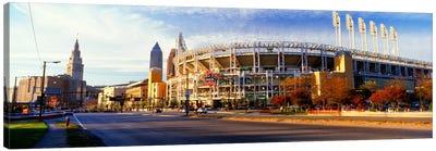 Low angle view of baseball stadium, Jacobs Field, Cleveland, Ohio, USA Canvas Art Print