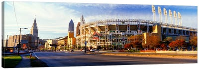 Low angle view of baseball stadium, Jacobs Field, Cleveland, Ohio, USA Canvas Art Print