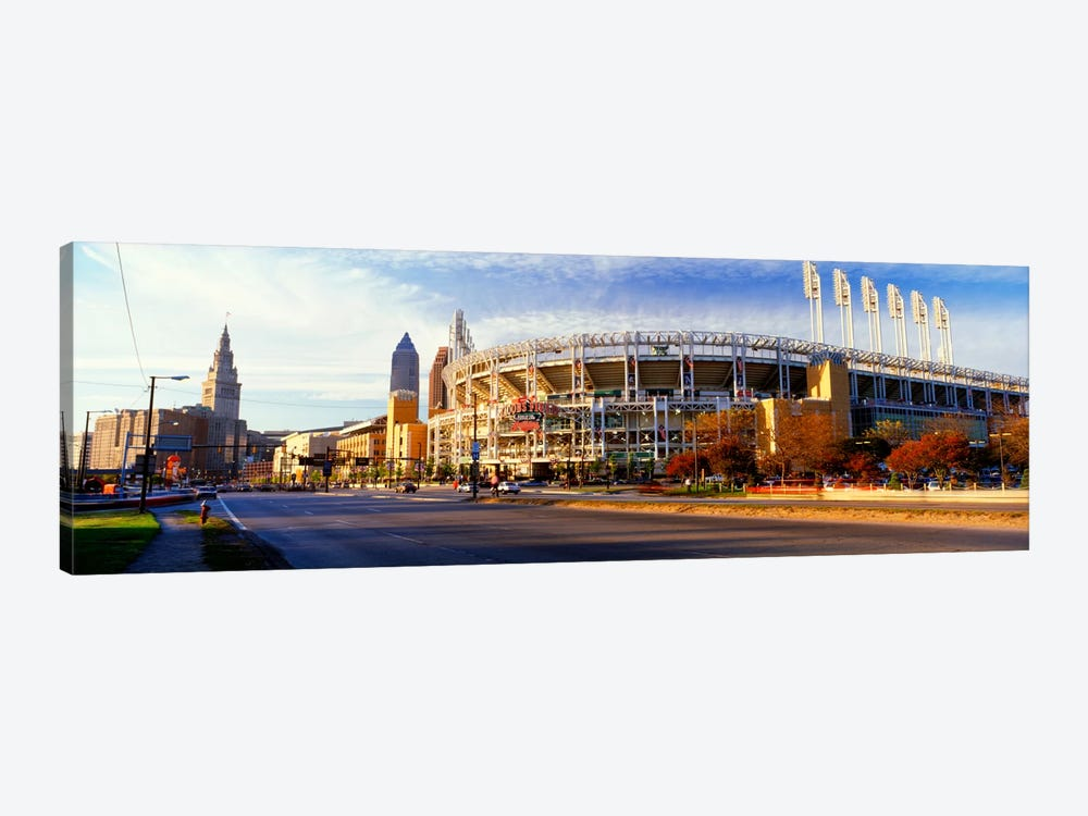 Low angle view of baseball stadium, Jacobs Field, Cleveland, Ohio, USA by Panoramic Images 1-piece Canvas Artwork