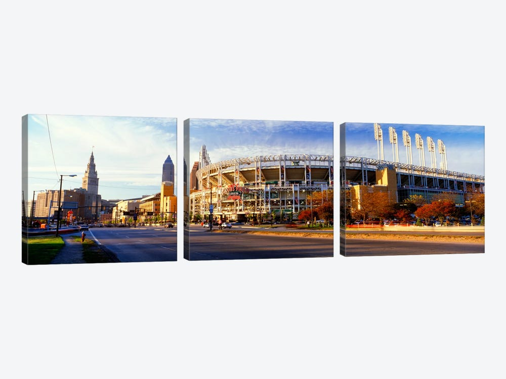 Low angle view of baseball stadium, Jacobs Field, Cleveland, Ohio, USA by Panoramic Images 3-piece Canvas Artwork