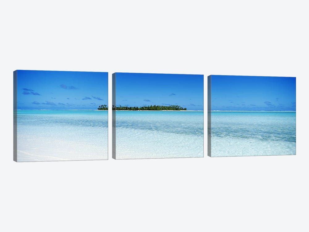 Distant View Of Maina, Aitutaki, Cook Islands by Panoramic Images 3-piece Canvas Artwork