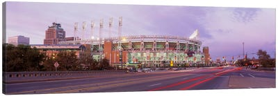 Baseball stadium at the roadside, Jacobs Field, Cleveland, Cuyahoga County, Ohio, USA Canvas Art Print