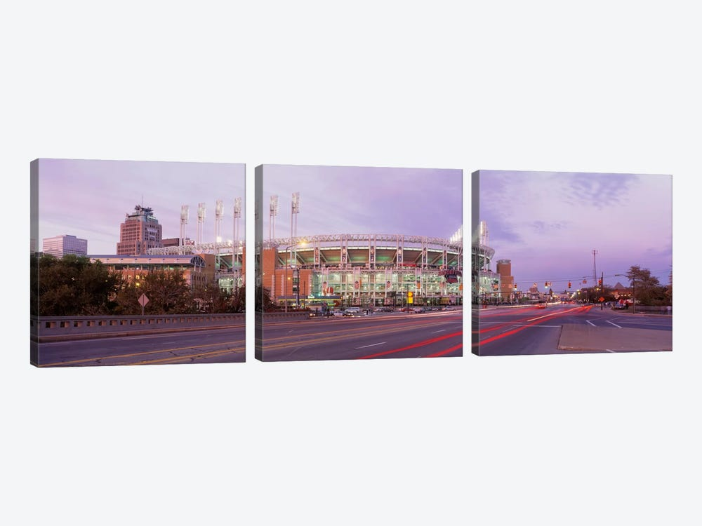 Baseball stadium at the roadside, Jacobs Field, Cleveland, Cuyahoga County, Ohio, USA by Panoramic Images 3-piece Canvas Print