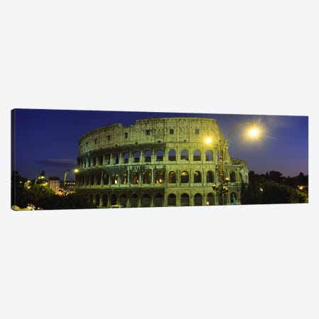 Ancient Building Lit Up At Night, Coliseum, Rome, Italy Canvas Print #PIM3461} by Panoramic Images Canvas Artwork