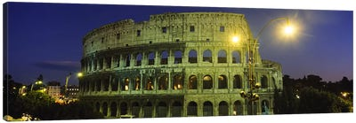 Ancient Building Lit Up At Night, Coliseum, Rome, Italy Canvas Print #PIM3461