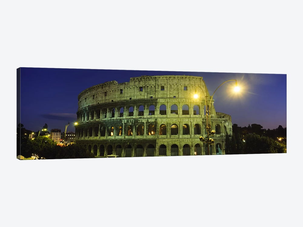 Ancient Building Lit Up At Night, Coliseum, Rome, Italy by Panoramic Images 1-piece Canvas Artwork