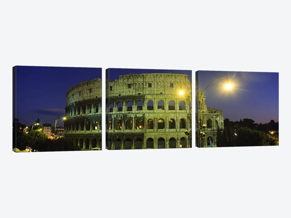 Ancient Building Lit Up At Night, Coliseum, Rome, Italy by Panoramic Images 3-piece Canvas Art