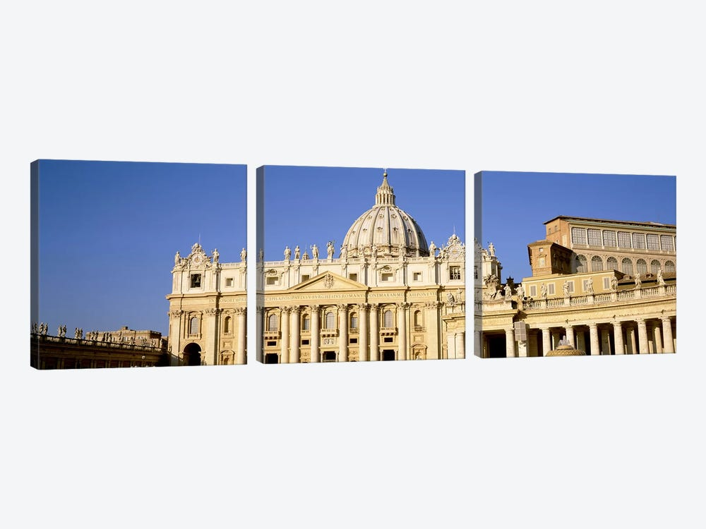 Facade of a basilica, St. Peter's Basilica, St. Peter's Square, Vatican City, Rome, Lazio, Italy by Panoramic Images 3-piece Canvas Art