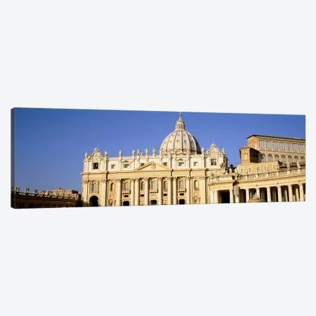 Facade of a basilica, St. Peter's Basilica, St. Peter's Square, Vatican City, Rome, Lazio, Italy Canvas Print #PIM3463} by Panoramic Images Canvas Wall Art