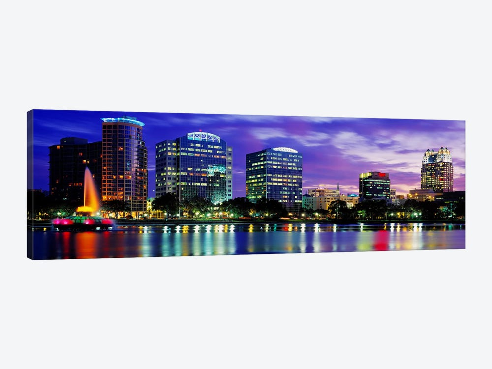 Panoramic View Of An Urban Skyline At Night, Orlando, Florida, USA by Panoramic Images 1-piece Canvas Art