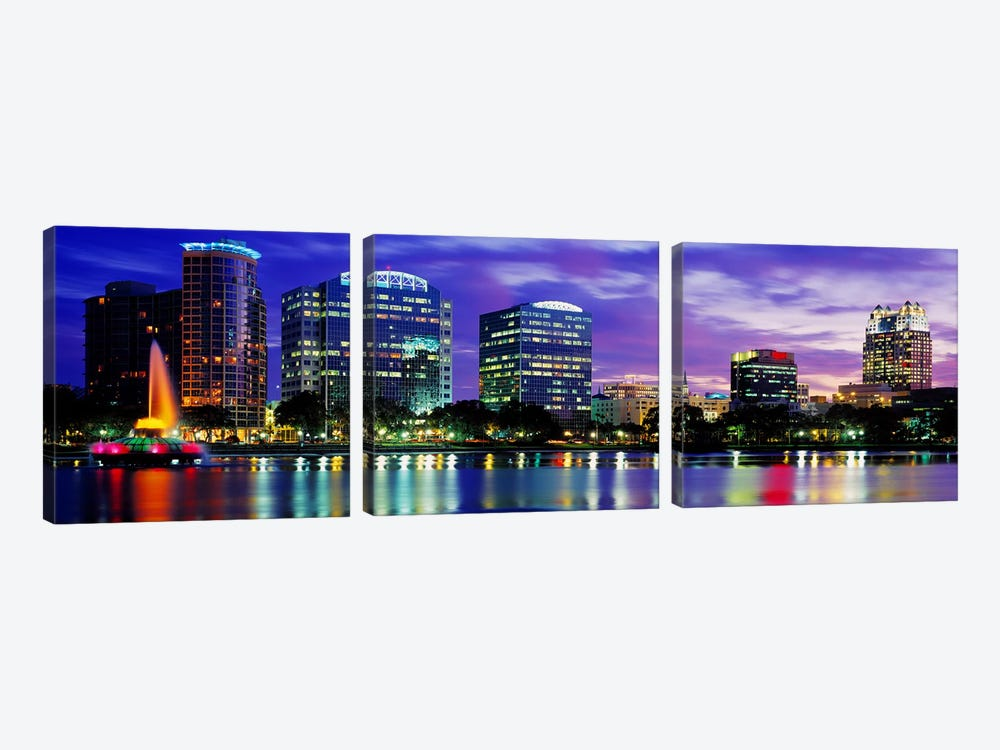 Panoramic View Of An Urban Skyline At Night, Orlando, Florida, USA by Panoramic Images 3-piece Canvas Wall Art