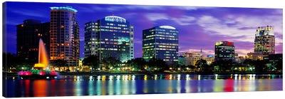 Panoramic View Of An Urban Skyline At Night, Orlando, Florida, USA Canvas Art Print