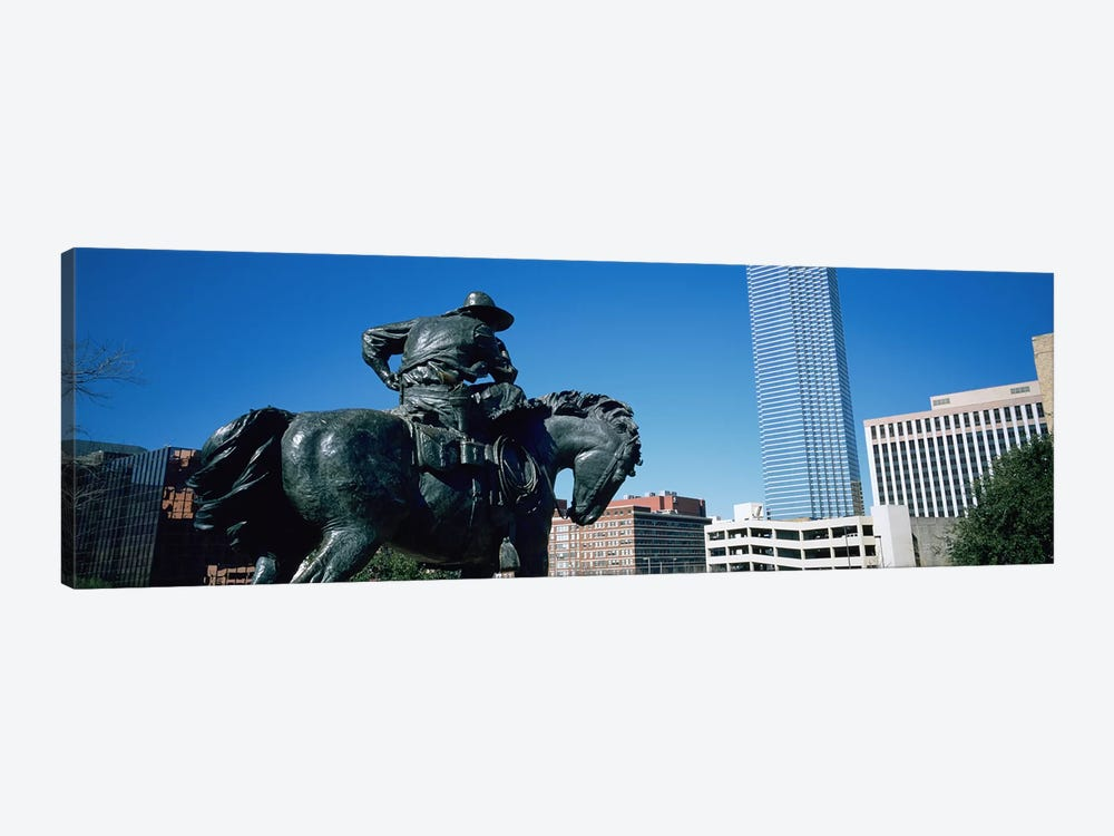 Low Angle View Of A Statue In Front Of Buildings, Dallas, Texas, USA by Panoramic Images 1-piece Art Print