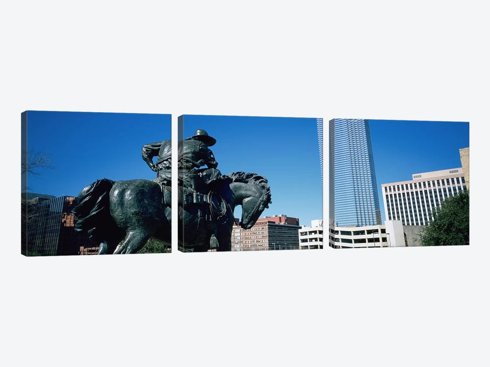 Low Angle View Of A Statue In Front Of Buildings, Dallas, Texas, USA by Panoramic Images 3-piece Art Print