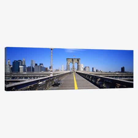 Bench on a bridge, Brooklyn Bridge, Manhattan, New York City, New York State, USA Canvas Print #PIM3476} by Panoramic Images Canvas Art