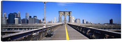 Bench on a bridge, Brooklyn Bridge, Manhattan, New York City, New York State, USA Canvas Art Print