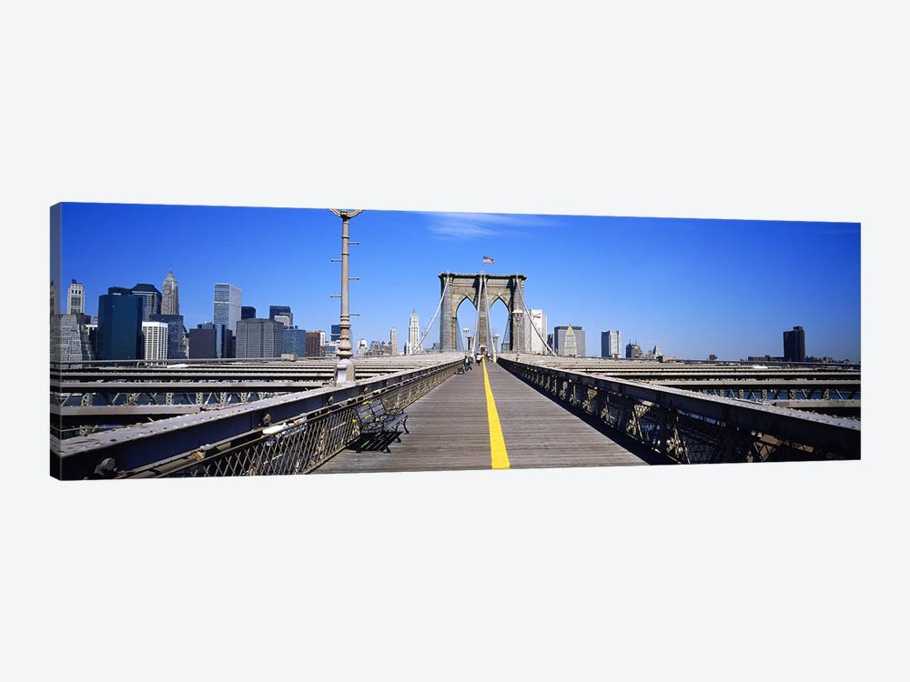 Bench on a bridge, Brooklyn Bridge, Manhattan, New York City, New York State, USA by Panoramic Images 1-piece Canvas Wall Art