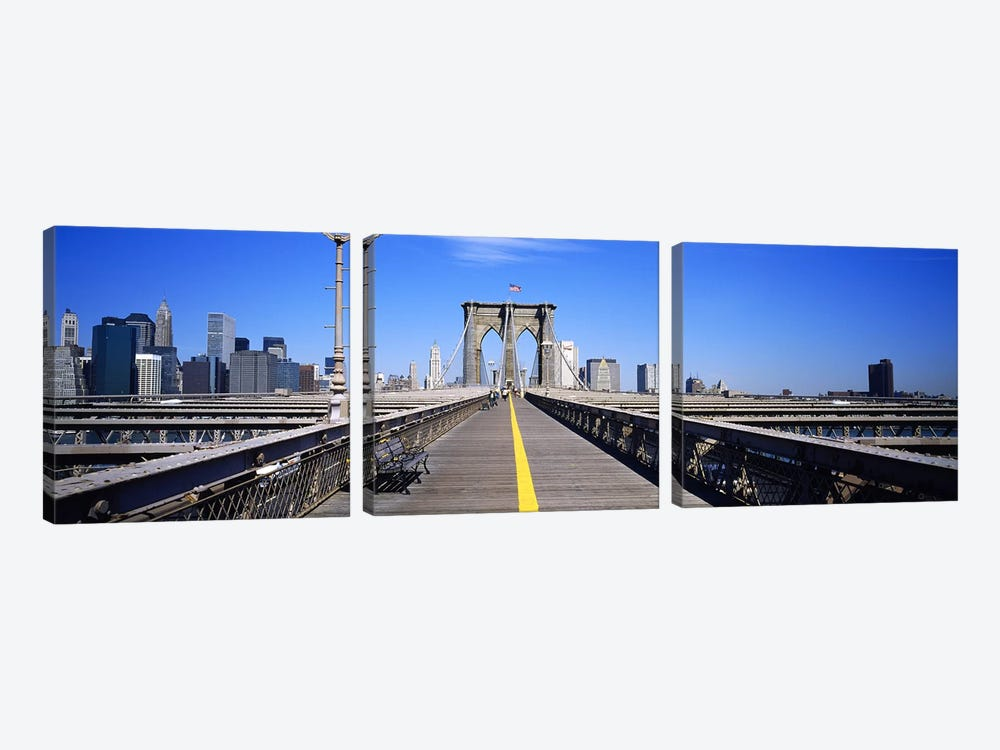 Bench on a bridge, Brooklyn Bridge, Manhattan, New York City, New York State, USA by Panoramic Images 3-piece Canvas Artwork