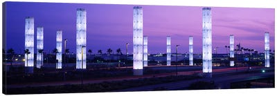 Light sculptures lit up at night, LAX Airport, Los Angeles, California, USA Canvas Art Print