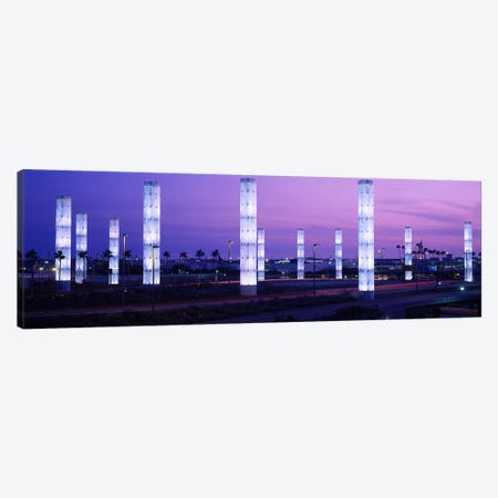 Light sculptures lit up at night, LAX Airport, Los Angeles, California, USA Canvas Print #PIM3477} by Panoramic Images Canvas Wall Art