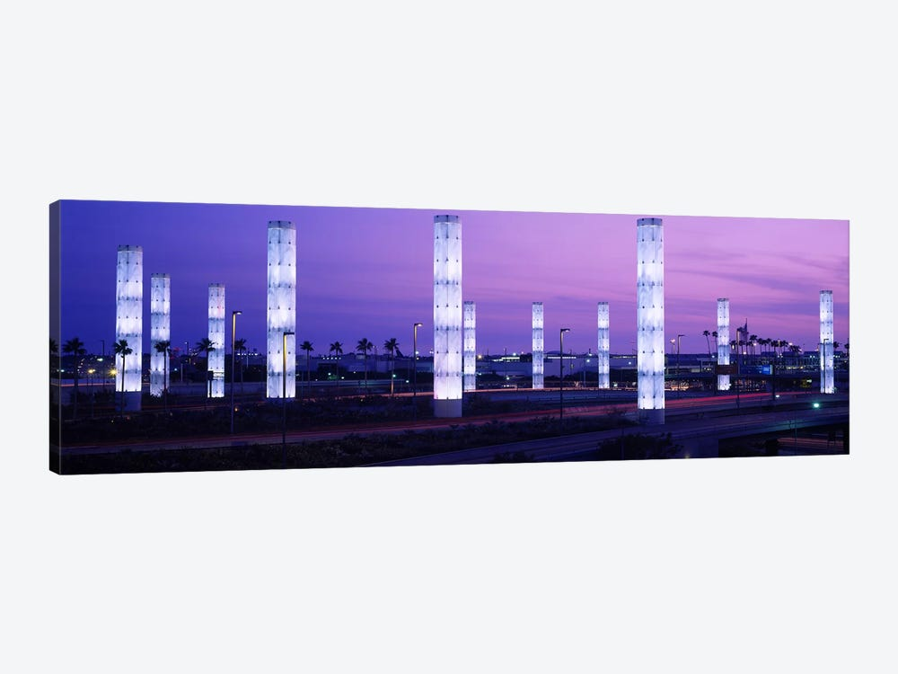 Light sculptures lit up at night, LAX Airport, Los Angeles, California, USA by Panoramic Images 1-piece Art Print