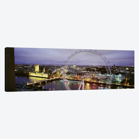 High-Angle View Of The City Of Westminster With A Spinning London Eye (Millenium Wheel), London, England, United Kingdom Canvas Print #PIM3486} by Panoramic Images Canvas Art Print