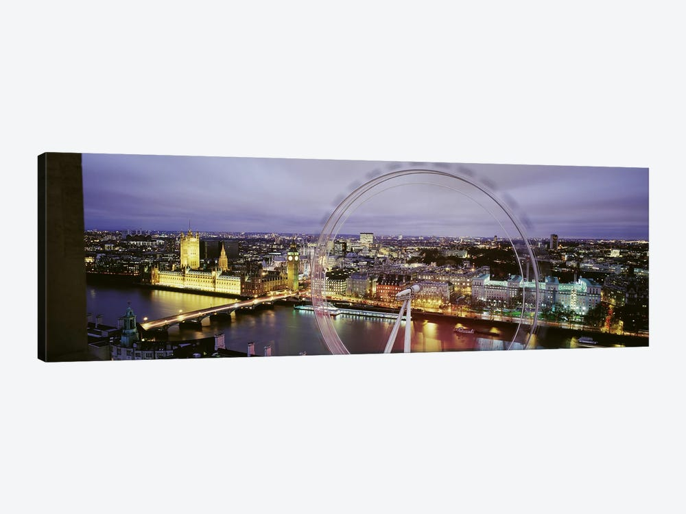 High-Angle View Of The City Of Westminster With A Spinning London Eye (Millenium Wheel), London, England, United Kingdom by Panoramic Images 1-piece Canvas Print