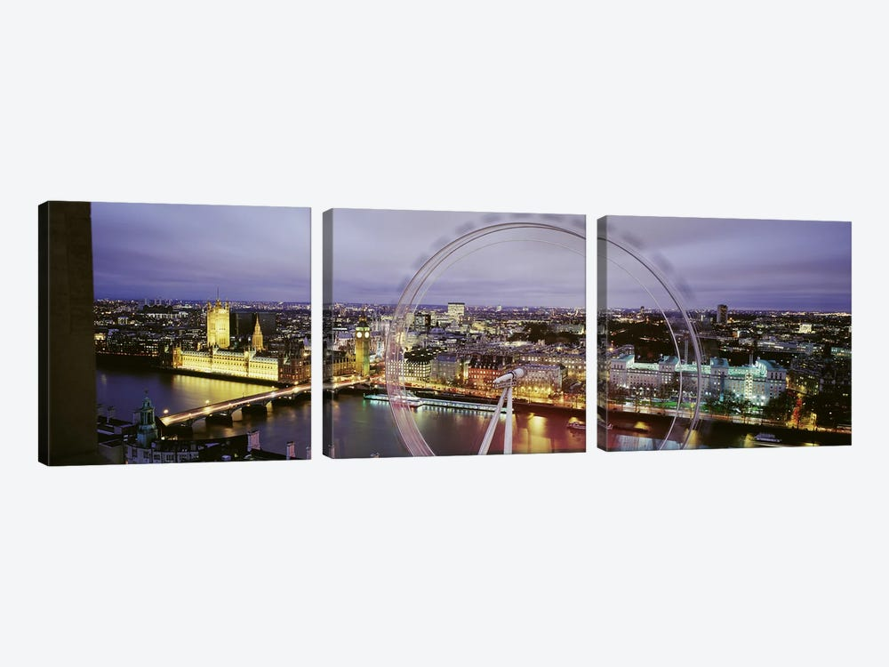 High-Angle View Of The City Of Westminster With A Spinning London Eye (Millenium Wheel), London, England, United Kingdom by Panoramic Images 3-piece Canvas Print