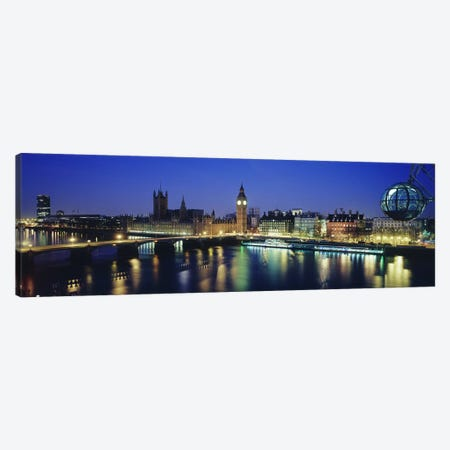 Palace Of Westminster At Night I, London, England, United Kingdom Canvas Print #PIM3487} by Panoramic Images Art Print