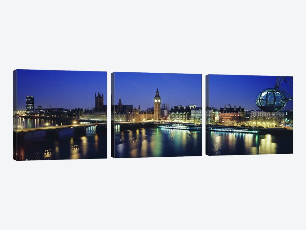 Palace Of Westminster At Night I, London, England, United Kingdom by Panoramic Images 3-piece Canvas Wall Art