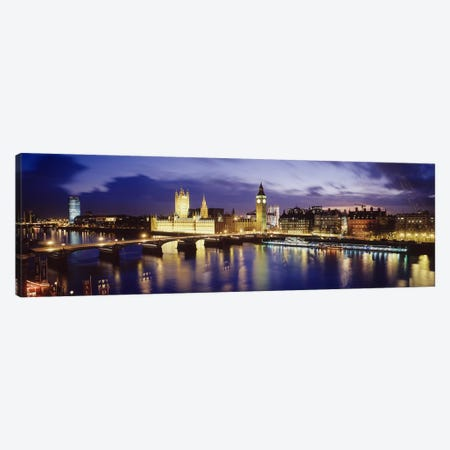 Palace Of Westminster At Night II, London, England, United Kingdom Canvas Print #PIM3488} by Panoramic Images Canvas Wall Art