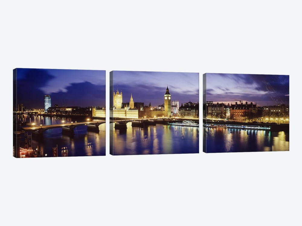 Palace Of Westminster At Night II, London, England, United Kingdom by Panoramic Images 3-piece Canvas Art Print