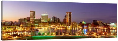 USA, Maryland, Baltimore, City at night viewed from Federal Hill Park Canvas Art Print
