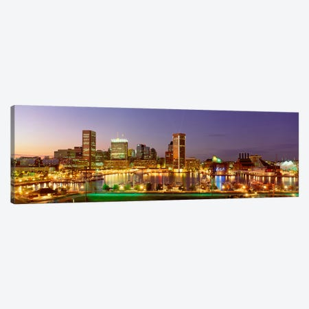 USA, Maryland, Baltimore, City at night viewed from Federal Hill Park Canvas Print #PIM348} by Panoramic Images Canvas Art Print