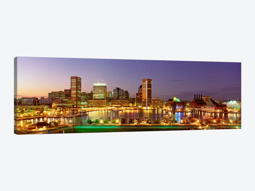USA, Maryland, Baltimore, City at night viewed from Federal Hill Park by Panoramic Images 1-piece Canvas Wall Art