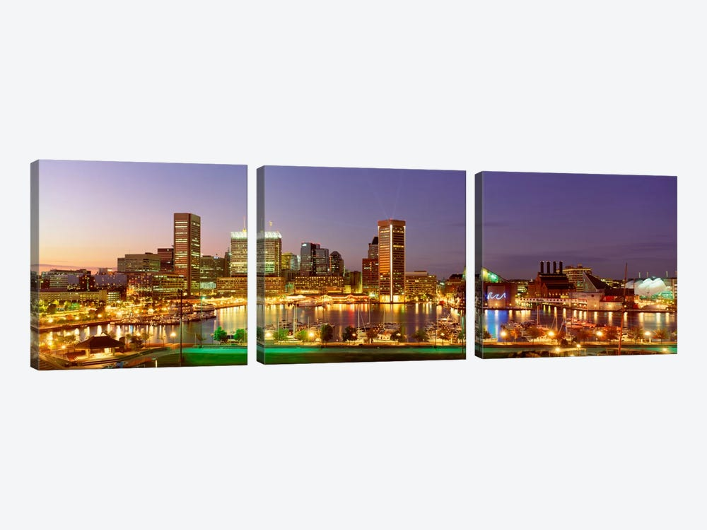 USA, Maryland, Baltimore, City at night viewed from Federal Hill Park by Panoramic Images 3-piece Canvas Artwork