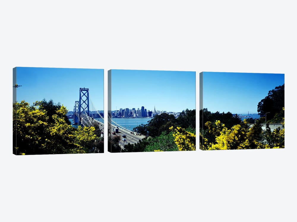 Bay Bridge In San Francisco, San Francisco, California, USA by Panoramic Images 3-piece Canvas Wall Art