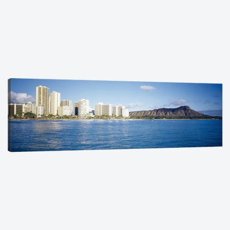 Buildings at the waterfront with a volcanic mountain in the background, Honolulu, Oahu, Hawaii, USA Canvas Print #PIM3495} by Panoramic Images Canvas Art