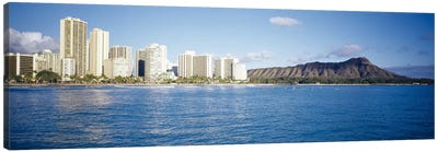 Buildings at the waterfront with a volcanic mountain in the background, Honolulu, Oahu, Hawaii, USA Canvas Art Print